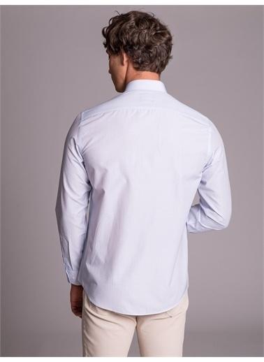 Dufy Açık Mavı Erkek Desenlı Klasık Gömlek - Slım Fıt Mavi
